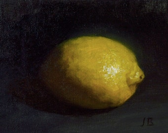 4x6 Lemon Original Oil Painting
