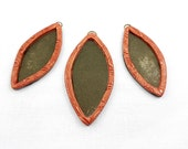 Leaf shape Pink Gold colour Bezels Frame Pendant and Earrings Set made from polymer clay for jewellery with Pebeo Paints and Epoxy resin