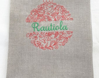 Embroidered Personalized Christmas Bulb Tea Towel, Guest Towel or hand Towel.  Hostess Gift, Christmas Gift.