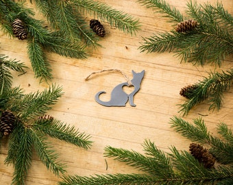Love Cat Christmas Ornament Rustic Metal Animal Ornament Recycled Steel Holiday Gift Industrial Decor Wedding Favor Iron Maid