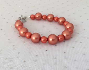 Orange Pearl Bracelet, Chunky Pearl Bracelet, Orange Bridesmaid Wedding Jewelry, Jewelry Gift, Orange Beaded Jewelry, Orange Fall Wedding