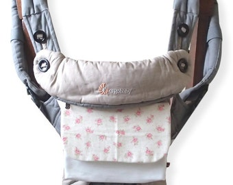 SALE-Pouch for Ergo 360,Ergo Adapt,Lillebaby Carrier,Removable Pocket,SSC,Carrier Pouch,Extra Pocket,Wallet,Pink Floral / White