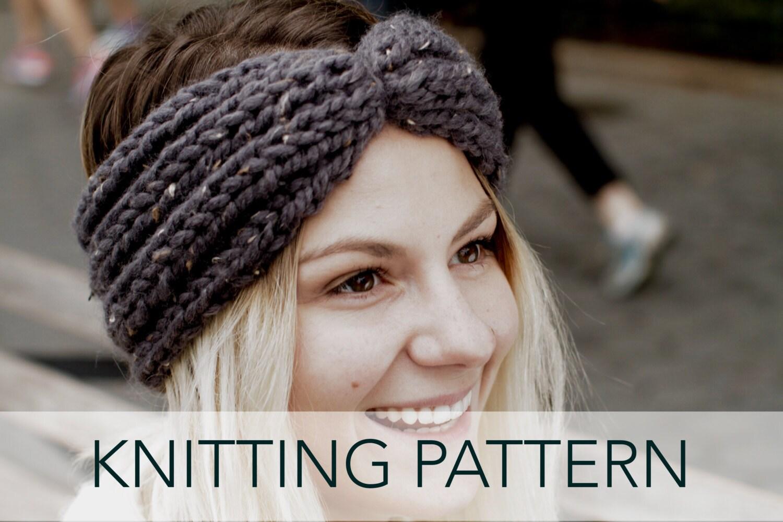 Chunky Knit Ear Warmer Pattern : Knitting Pattern // Chunky Knit Turban Headband Ear Warmer