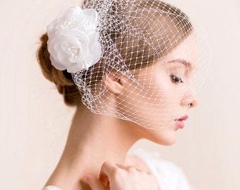 Birdcage Fascinator with Silk Flower - Bridal Birdcage Veil with Flower in Silk with Freshwater Pearls - Bridal Hairpiece, Wedding Hairpiece