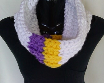 Purple and Gold Striped Cowl/Scarf Ready to Ship