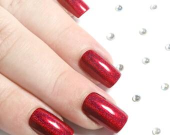 Fake Nails - Press On Nails - Red Holographic Nails - Glue On Nails - False Nail Set - Acrylic Nails - Square Artificial Nails