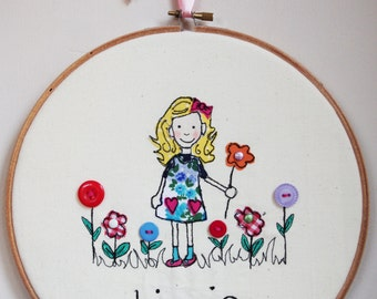 Free Motion Embroidery Personalised Art Embroidery Hoop Flower Girl