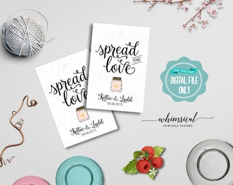 "Spread the Love Jam Favor Tag ""Swirly II"" (Printable File Only) Jam Jelly Wedding Favor Tags; Printable Wedding Tags; DIY Wedding Tags"
