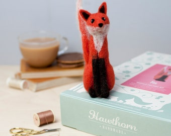 Fox Needle Felting Kit - Fox Craft Kit - craft kit gift - felt fox project - fox craft kit for adults - needle felting kit