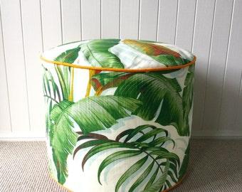 Tommy Bahama Tropical  palm Leaf Ottoman/ Pouf/ Floor Cushion  / Cushion Cover - Banana Leaf
