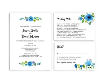 Wedding invitations blue and green watercolour flowers