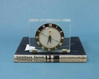 Telechron Airlux Lucite Alarm Clock Model 7H141 Mid Century 40's 50's Modern Retro Art Deco Acrylic Roman Numeral