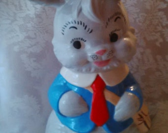 Vintage Large Hand Painted Ceramic Rabbit with Mail Bag