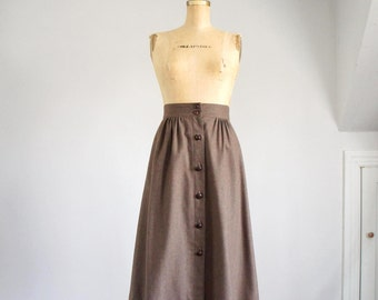 70s nutmeg wool high-waist midi skirt