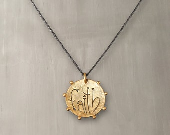 Faith Disc Pendant Necklace 24K Gold Plated Bronze, Black Rhodium Plated Sterling Silver Chain/Inspirational Necklace – 135A