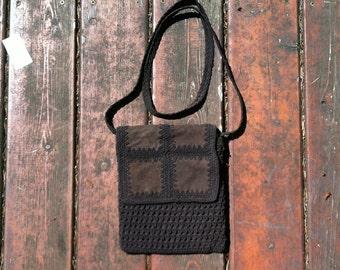 Crochet Brown Nylon Purse Leather Purse Vintage Crochet Summer Purse Crossbody Bag Chocolate brown Suede Leather