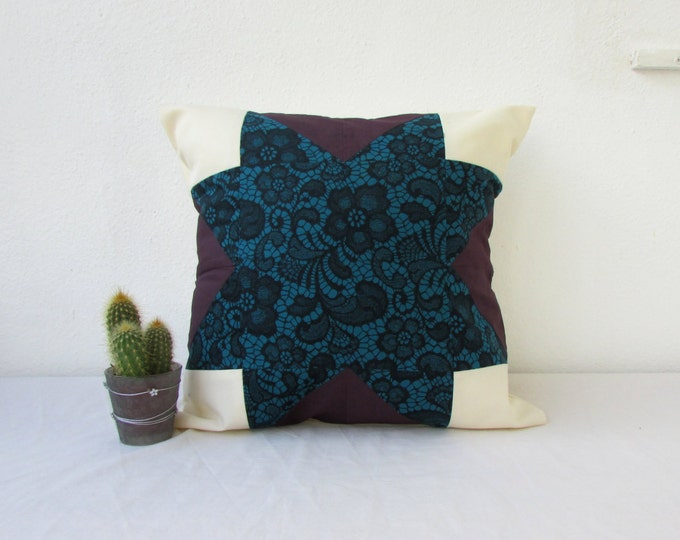 Teal patchwork cushion cover, handmade in the UK