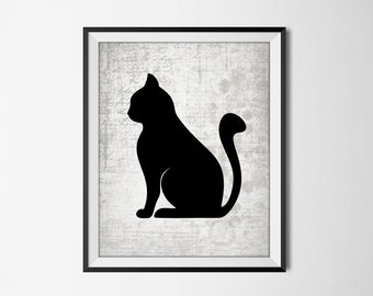 Black Cat Silhouette Wall Art Print - Modern Home Decor - Black Cat Giclee Art Poster - Cat Print - Black Cat Picture - Cat Gifts