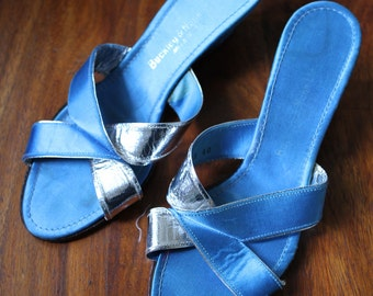 Palm Springs satin blue 1960s slippers