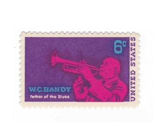 10 Unused Vintage US Postage Stamps -  1969 6c W. C. Handy - Item No. 1372