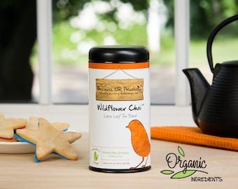 Organic herbal chai tea, WILDFLOWER CHAI, caffeine free chai, cardamom, fair trade cloves, ginger tea