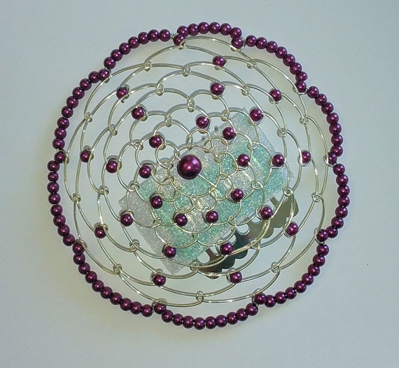 beaded kippah in plum purple pearl with silver by