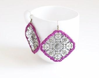 Berry Crochet Medallion Earrings