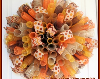XL Fall Curly Wreath – Orange Brown Gold Spiral Deco Mesh Wreath – Thanksgiving Turkey Door Decoration – Harvest Colors