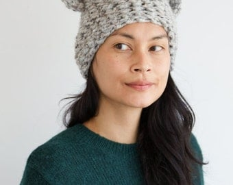 Gray Speckled Ear Hat
