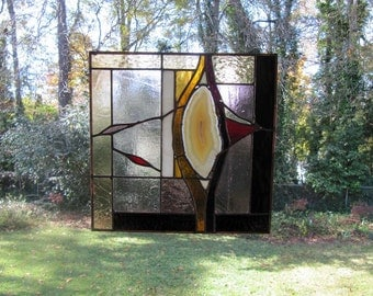 """Red Cliffs #2 - Natural Agate w/Amber and Purple Glass:  Stained Glass Panel (approx 11"""" square)"""