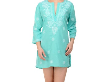Deep Turquoise Beach Kaftan, Beach Cover Up with Hand-Embroidery