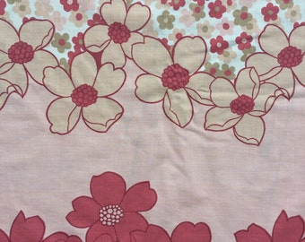 Set of Vintage Large Double/King Size Flat Sheet and 2 Matching Pillowcases- Pink Floral