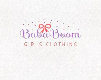 Girly logo design, watercolor stars and bow, children clothing branding