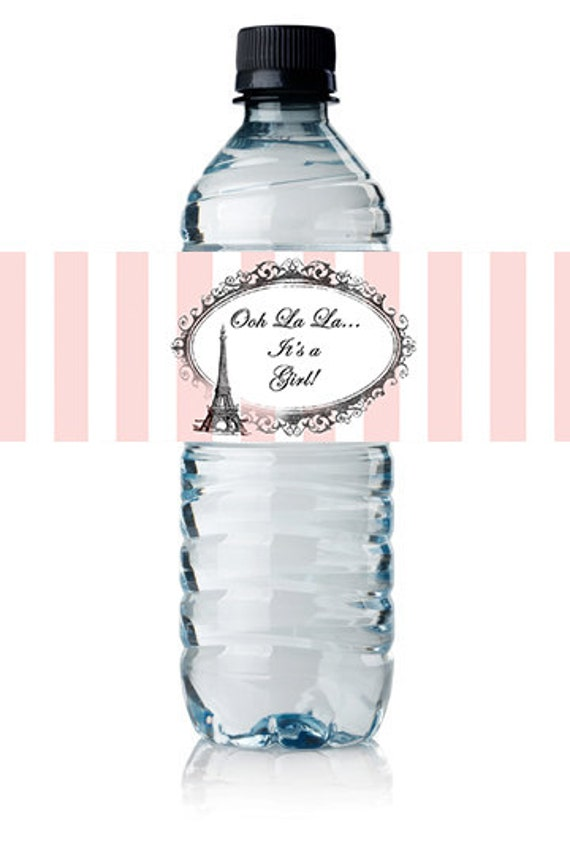 Paris French Eiffel Themed Baby Shower Water Bottle Label