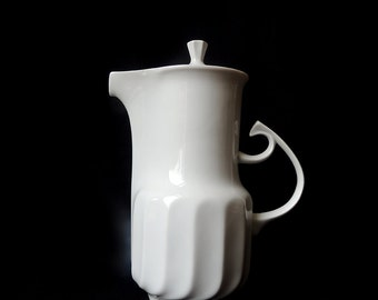 White Porcelain Teapot Coffeepot by Hollohaza Hungary
