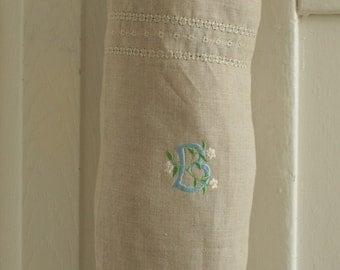 Monogrammed linen bag holder