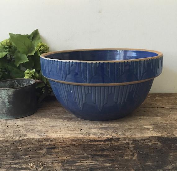 Vintage Kitchen Bowls: Vintage Blue Crockery Pottery Mixing Bowl Antique Kitchen 10