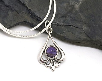 Charoite Necklace, Natural Stone Pendant, Sterling Silver Filigree Teardrop Necklace, Natural Gemstone, Purple Stone Necklace