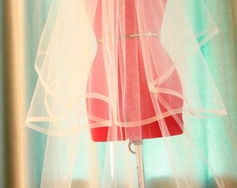 1/2 Inch HorseHair Wedding Veils, Full Horsehair Veil, Blusher Cathedral Veil, Trim Edge Veil, Blusher Veil, Veil, Handmade in the USA