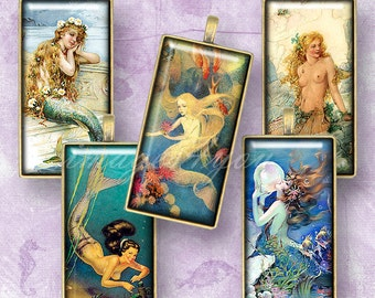 "Vintage Mermaid 1x2"" Domino Tile images Digital Collage Sheet cabochon 1x2 inch printable download 15x30mm bamboo 0.75x1.5""(19x38mm) pendant"