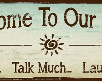 Welcome to Our Porch Metal Sign, outdoor living, Rustic Decor    HB7696