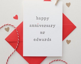 Personalised 'Happy Anniversary Mr or Mrs' Card