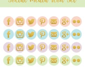 Blog Graphics - Social Media Icons - Colorful - Pink Social Media Icon - Blue & Green  Social Media Icon - Purple Social Media Icon -
