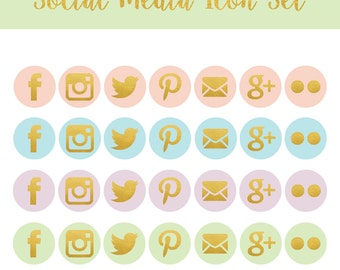 Blog Graphics - Social Media Icons - Colorful - Pink Social Media Icon - Blue & Green  Social Media Icon - Purple Social Media Icon -