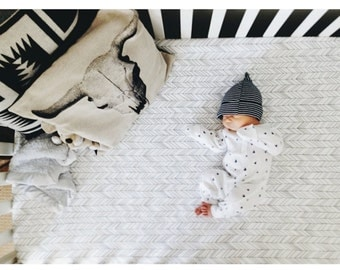 Organic Crib Sheet White and Charcoal Featherland // Additional Colors, Fitted Crib Sheet, Baby Bedding, Crib Bedding, Organic Crib Sheet