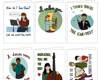 Printable Valentines: Musician Puns- Folded Cards