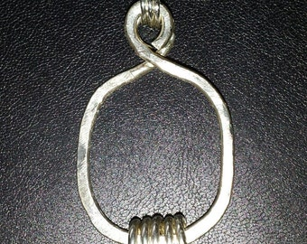 NEW! Handmade .925 Sterling Silver HAMMERED Pendant COIL Necklace with Your Choice of Sterling Silver Chain!