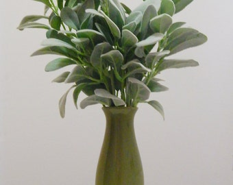 Lambs' Ears, Green Ceramic Vase, Table Centerpiece, Housewarming Gift, Small Floral Arrangement, Livingroom decor