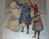 Reserved Order for Clara Cute Little Girls Building a Snowman TUCK Antique Postcard