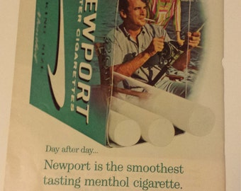 "Retro Newport Filter Cigarettes Ad / 1960's / ""Day After Day...Newport is the Smoothest Tasting Menthol Cigarette"""